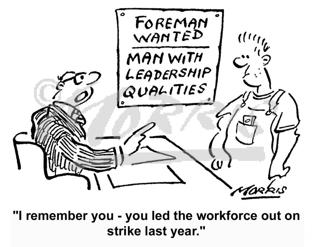 Shopfloor worker personnel interview cartoon Ref: 5991bw