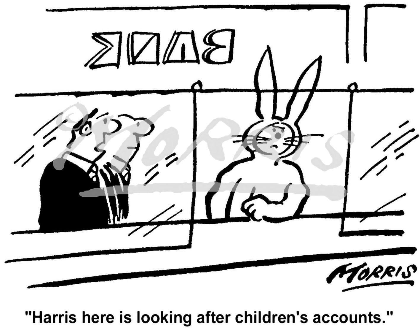 Bank comic business cartoon Ref: 0021bw