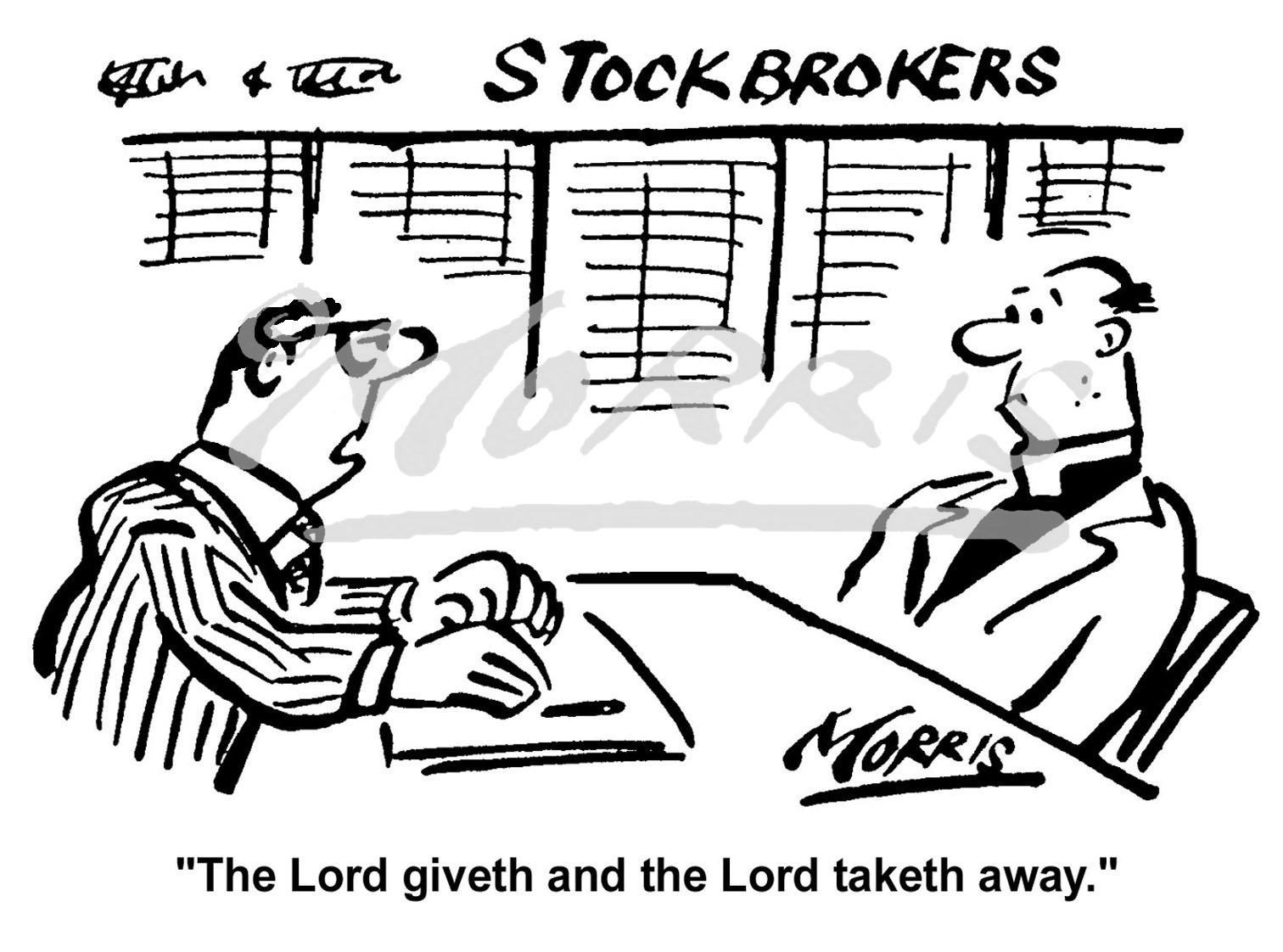 Stockbroker business cartoon Ref: 0119bw