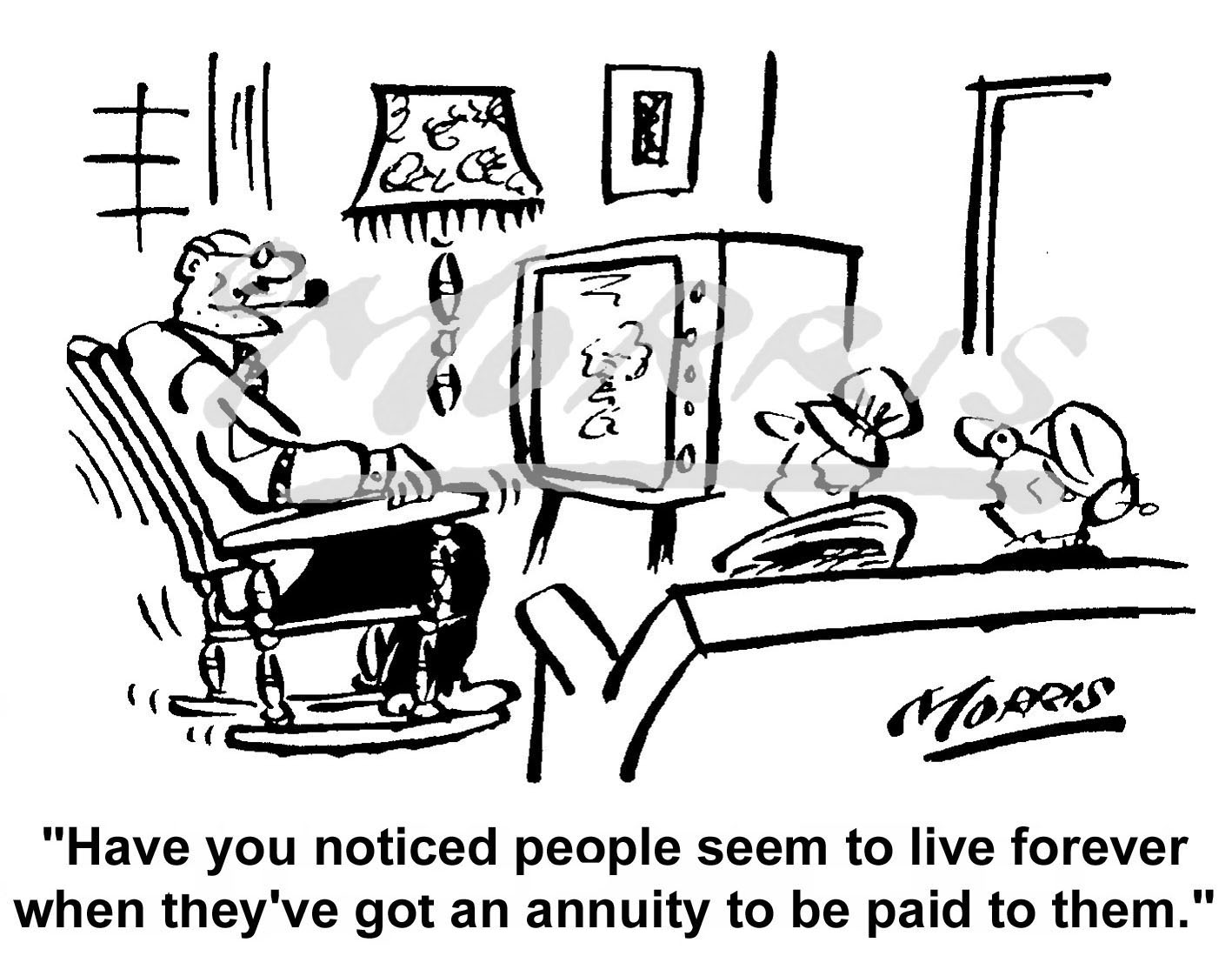Insurance cartoon, Insurance comic, Annuity cartoon – Ref: 0124bw