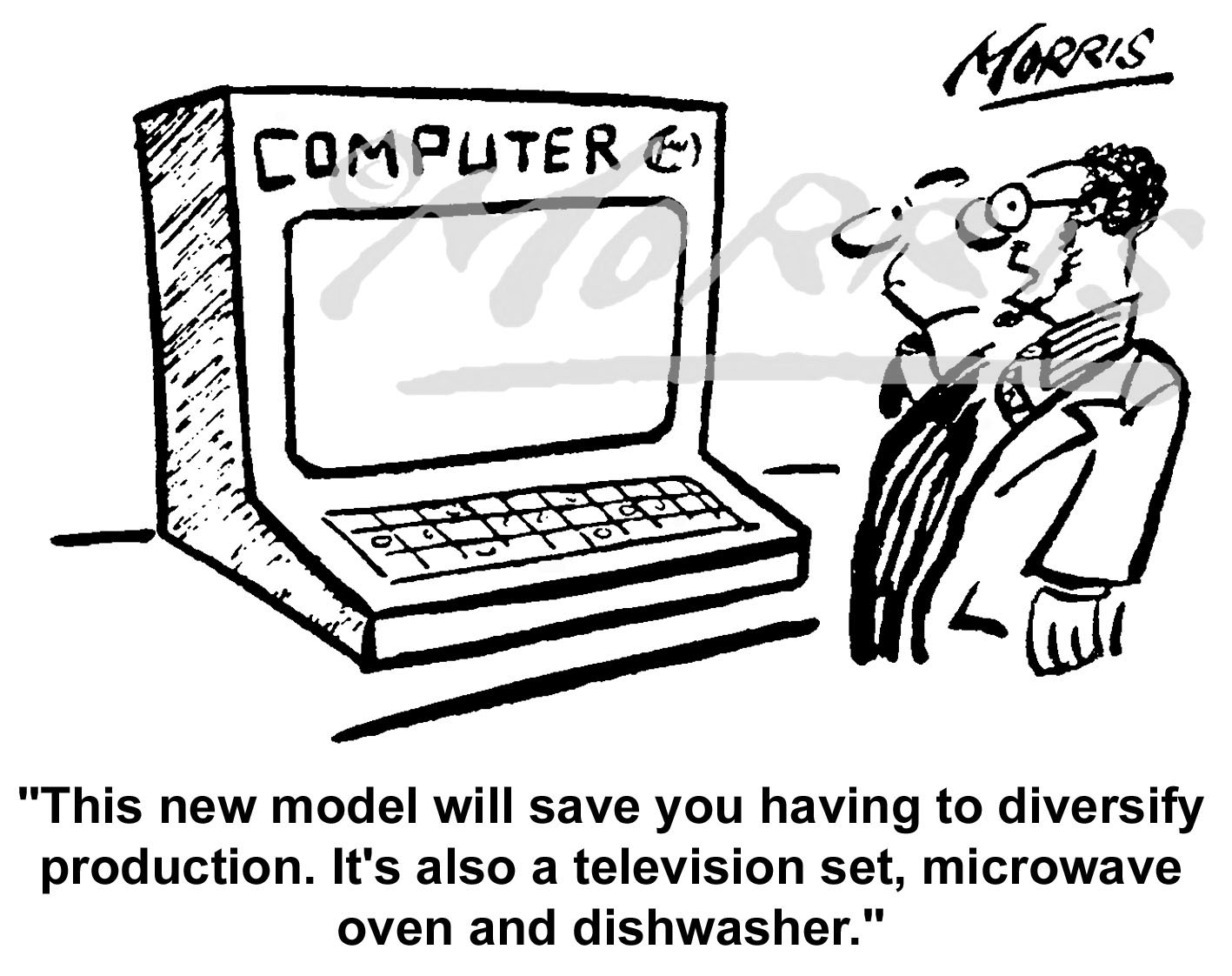 New computer comic cartoon Ref: 0153bw