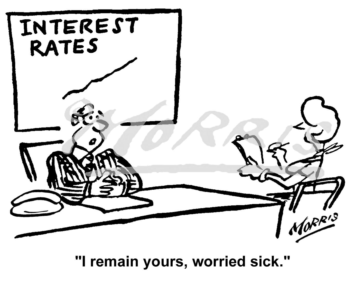 Interest Rates cartoon Ref: 0173bw