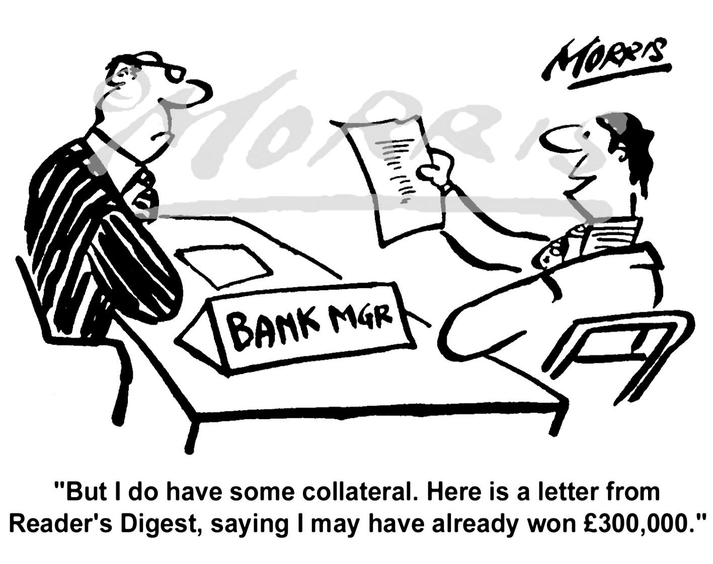 Bank Manager comic business cartoon Ref: 0177bw