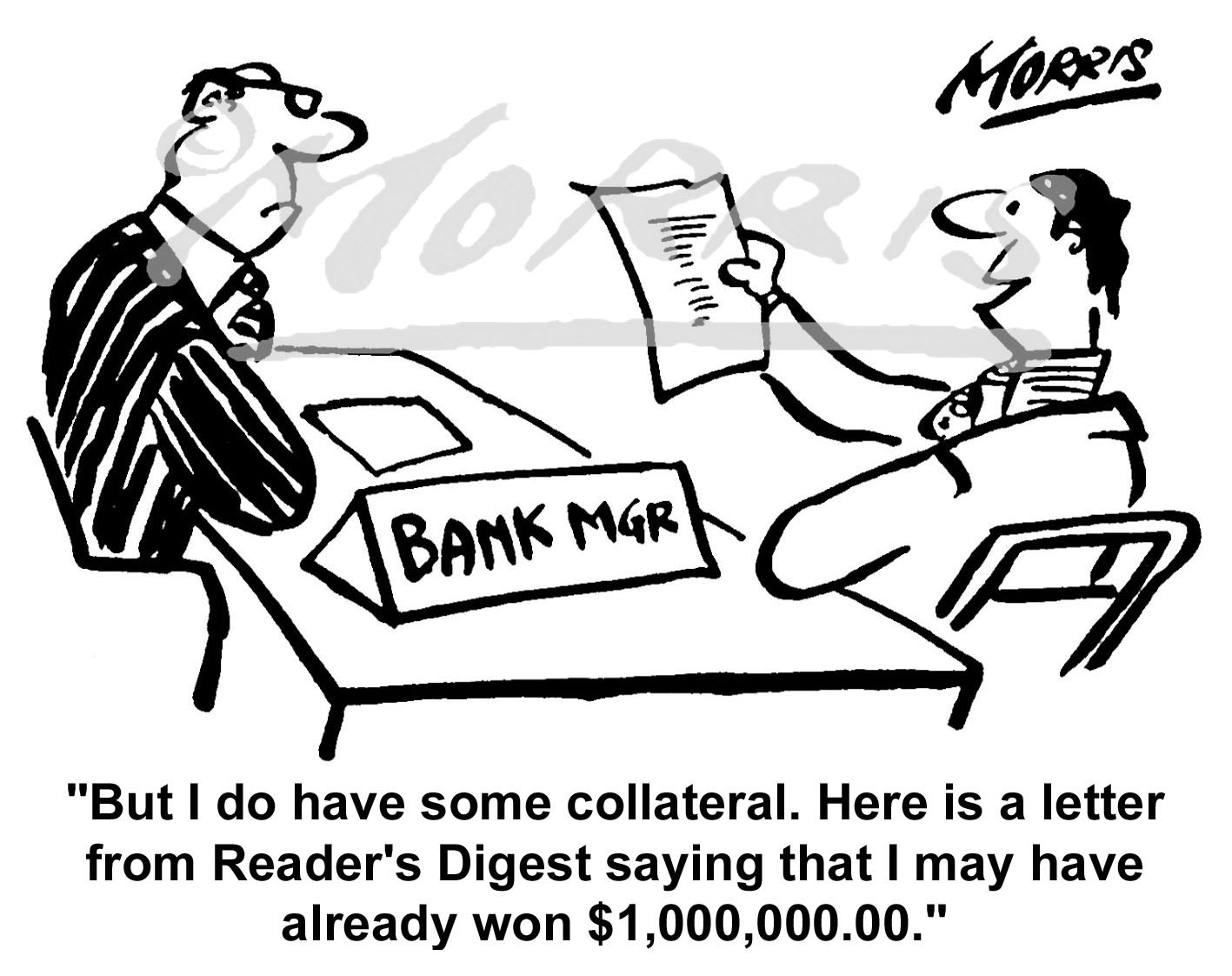 Bank Manager comic business cartoon Ref: 0177bwus