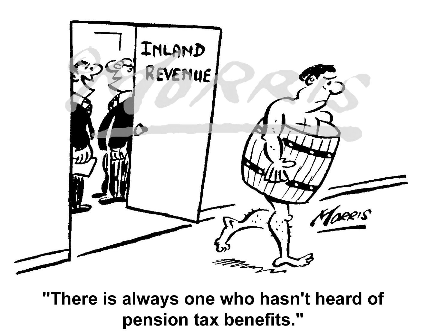 Pension tax benefits HMRC cartoon Ref: 0183bw