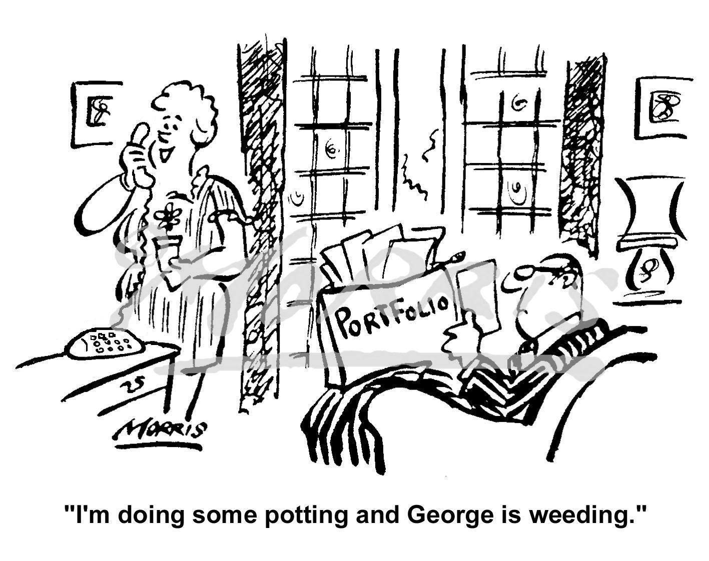 Financial portfolio comic cartoon Ref: 0203bw