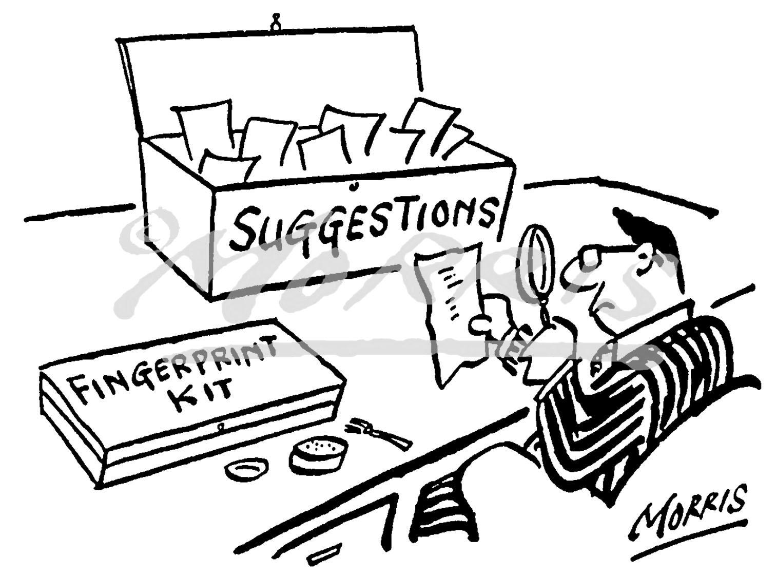 Office suggestion box scheme cartoon – Ref: 0252bw
