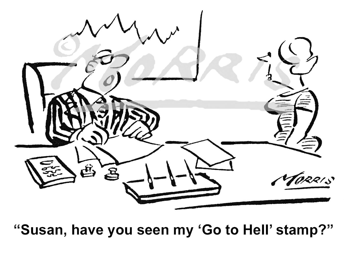 Office manager business cartoon – Ref: 0253bw