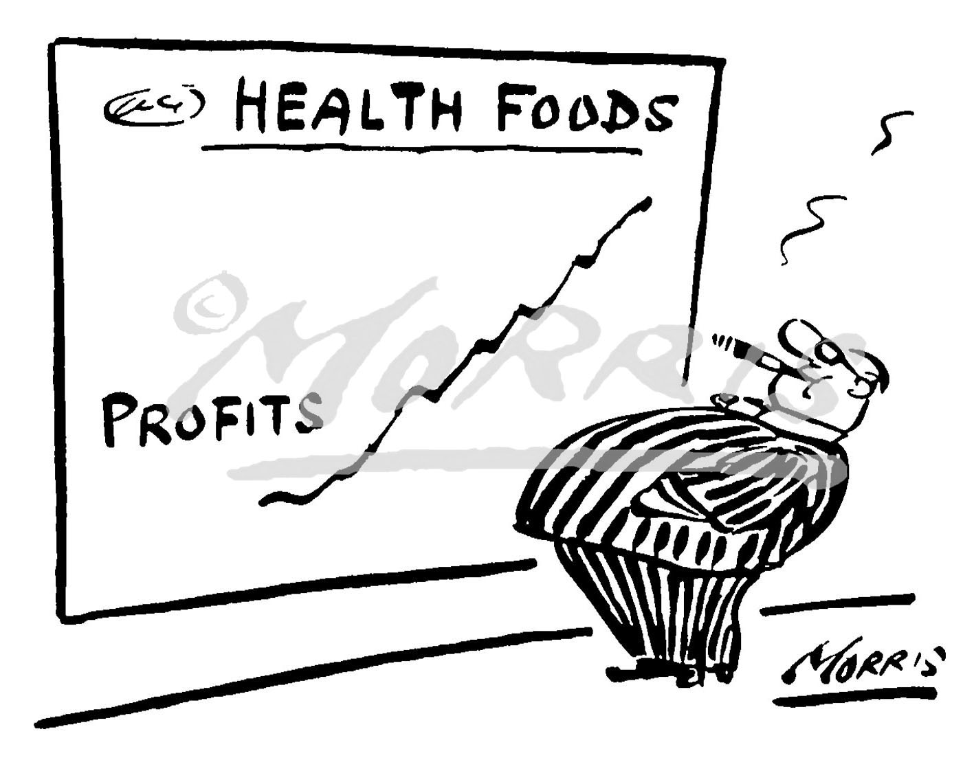 Healthcare profits graph cartoon – Ref: 0255bw