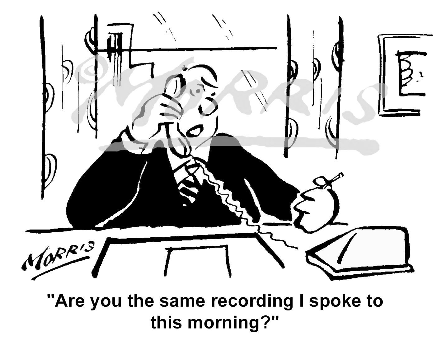 Management cartoon, telephone cartoon – Ref: 0262bw