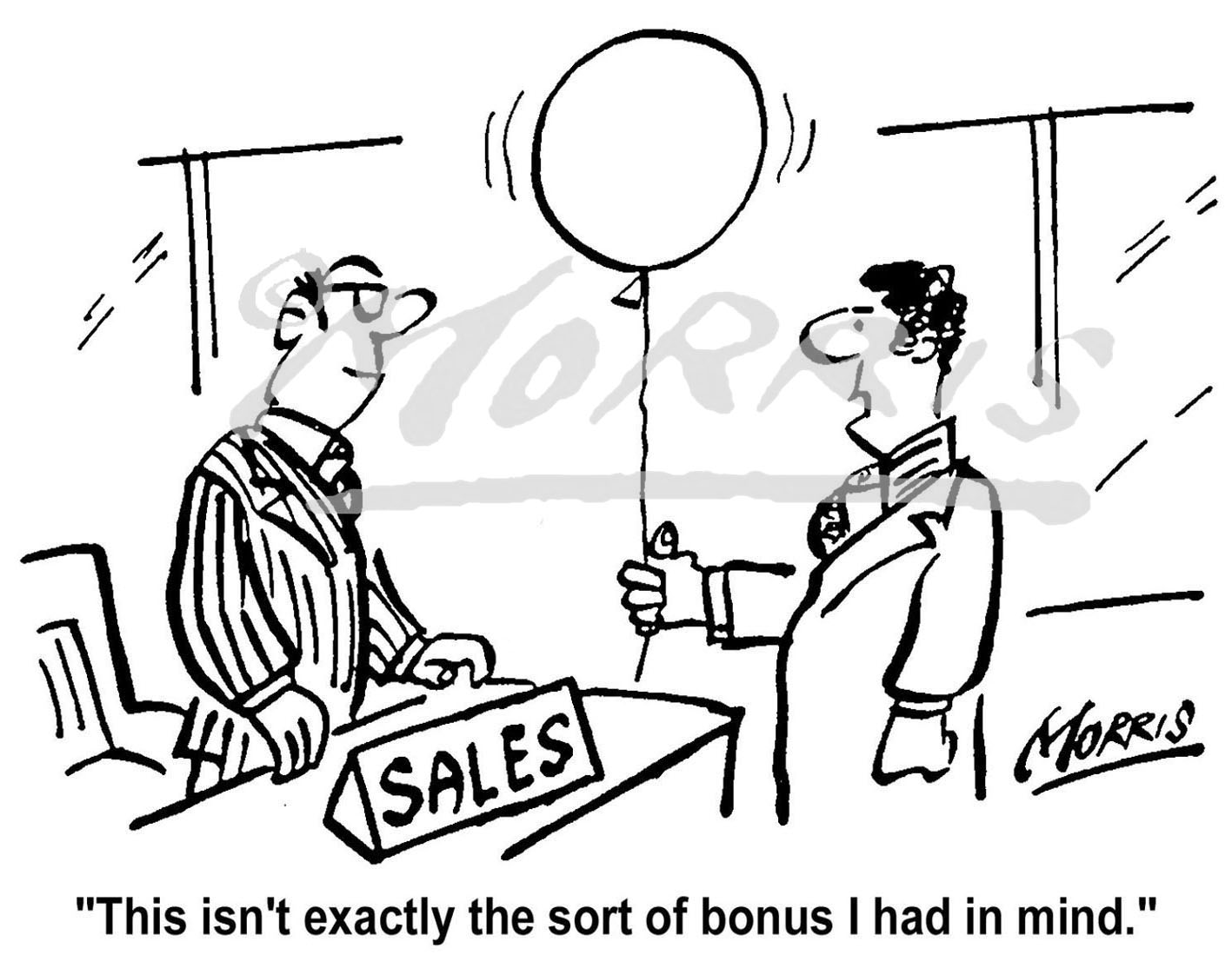 Sales cartoon, Sales manager cartoon, Bonus cartoon, – Ref: 0272bw