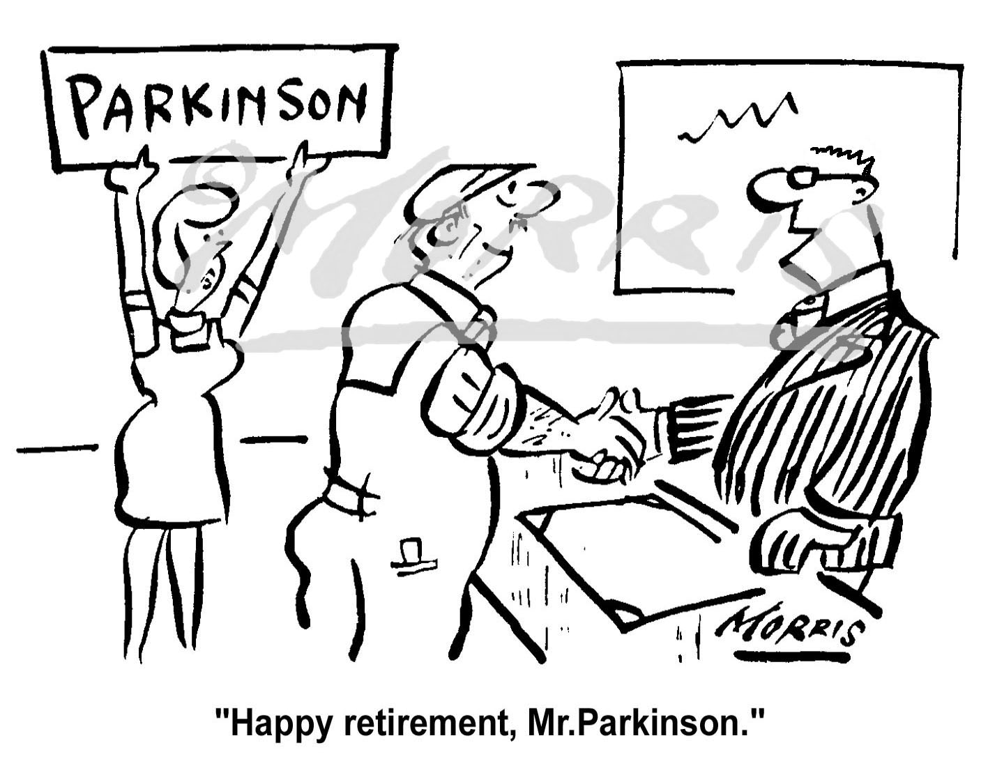 Shopfloor worker retirement presentation cartoon Ref: 0297bw