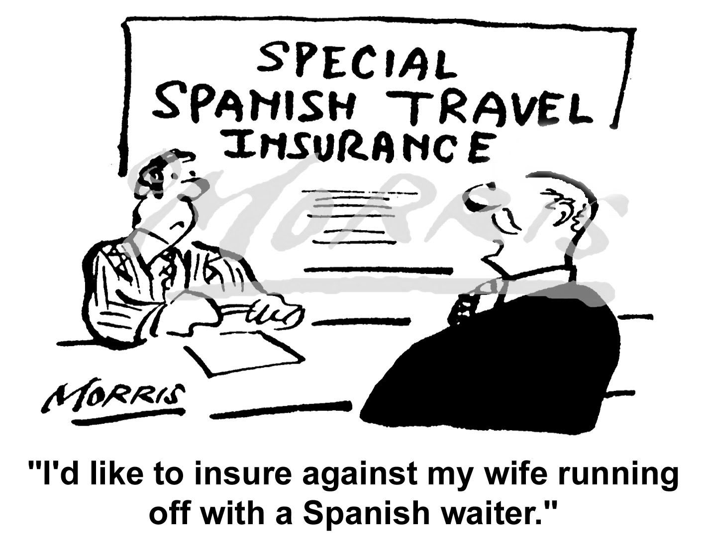 Travel insurance cartoon Ref: 0301bw