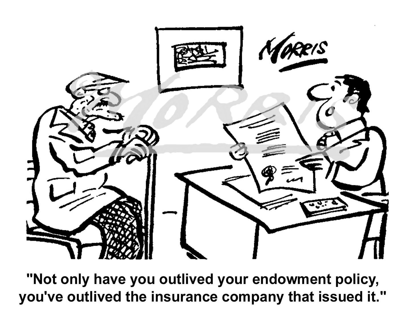 Insurance endowment policy comic cartoon – Ref: 0312bw