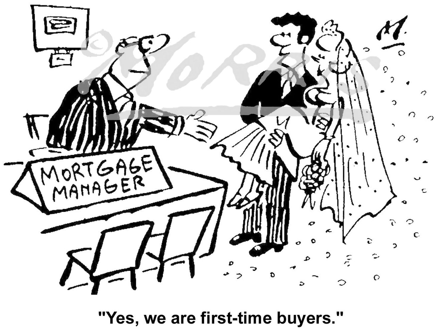 Mortgage bank manager comic cartoon Ref: 0316bw