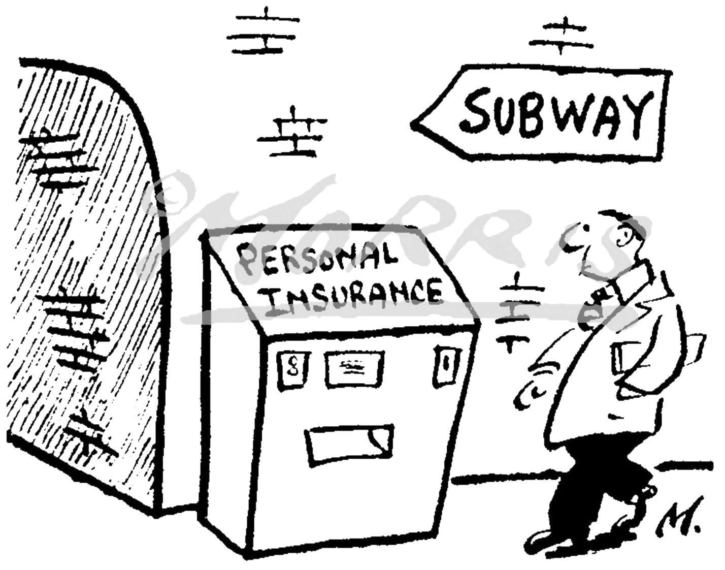 Personal insurance cartoon, Financial cartoon, Investment cartoon – Ref: 0321bw