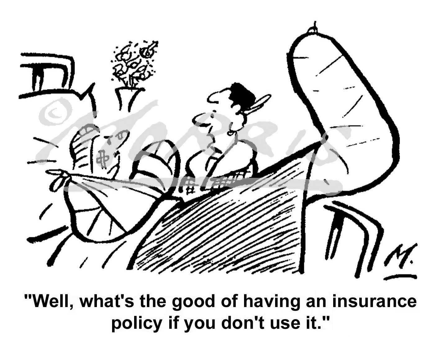 Insurance policy cartoon Ref: 0322bw