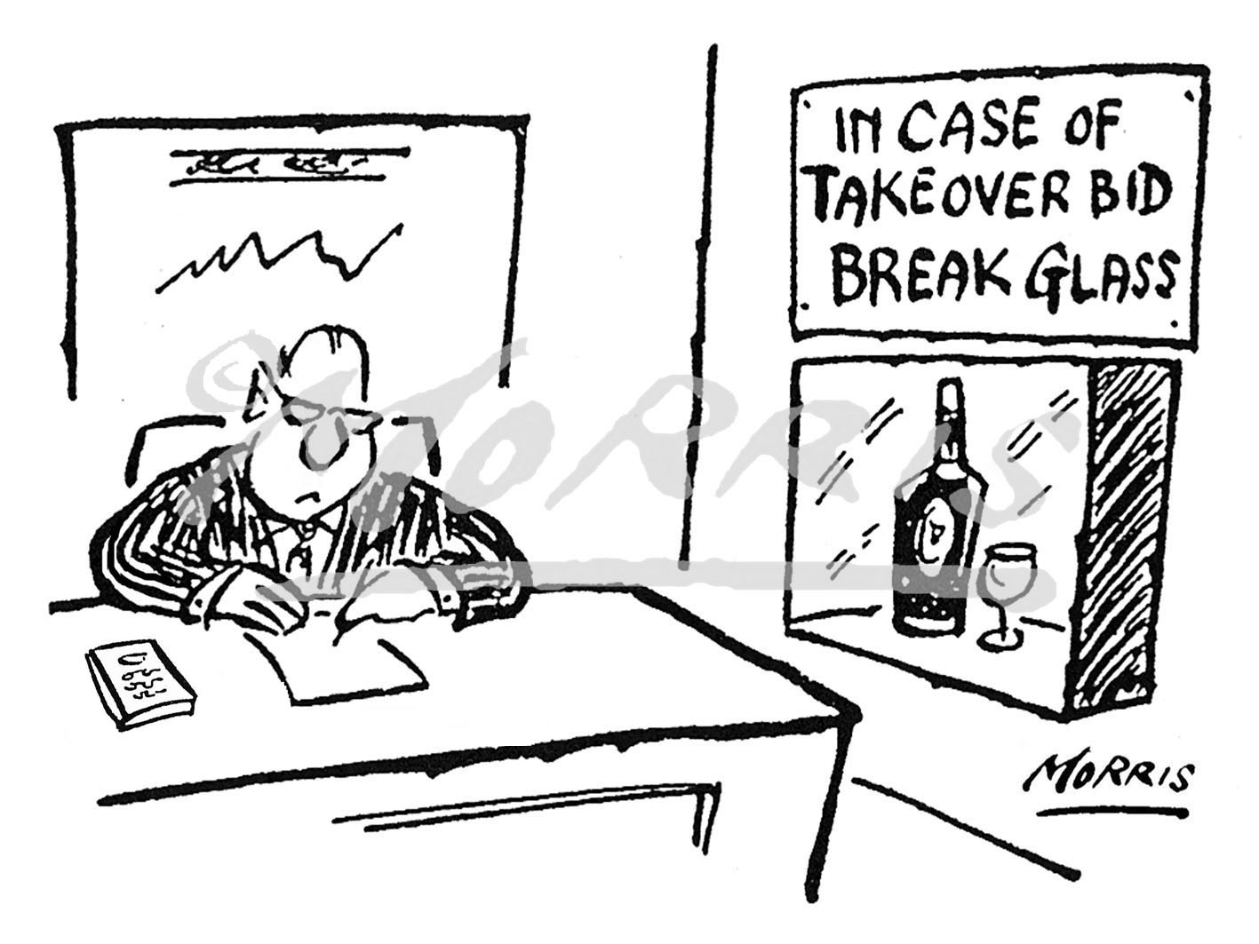 Company takeover bid business cartoon Ref: 0329bw
