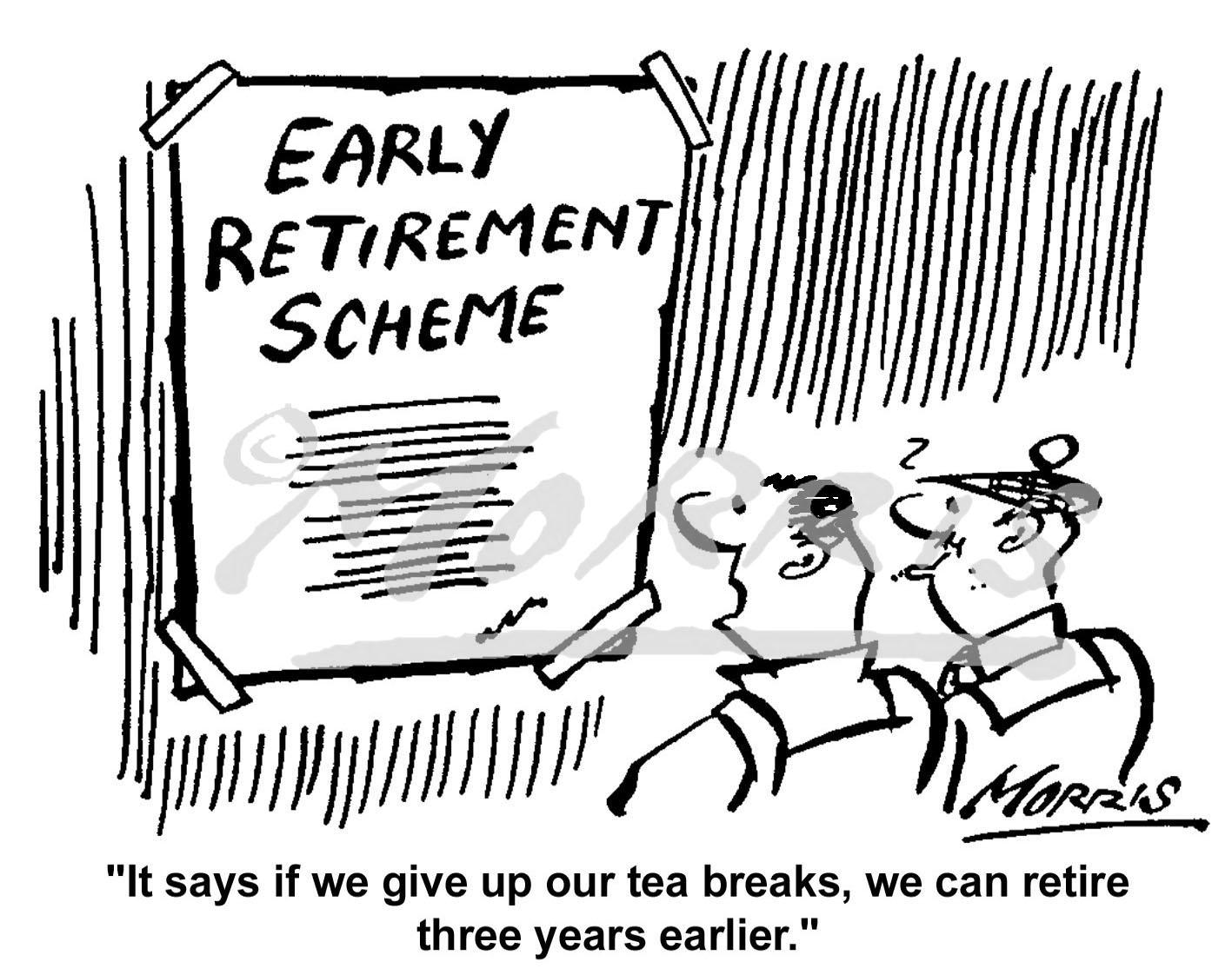 Workforce retirement plan cartoon Ref: 0385bw