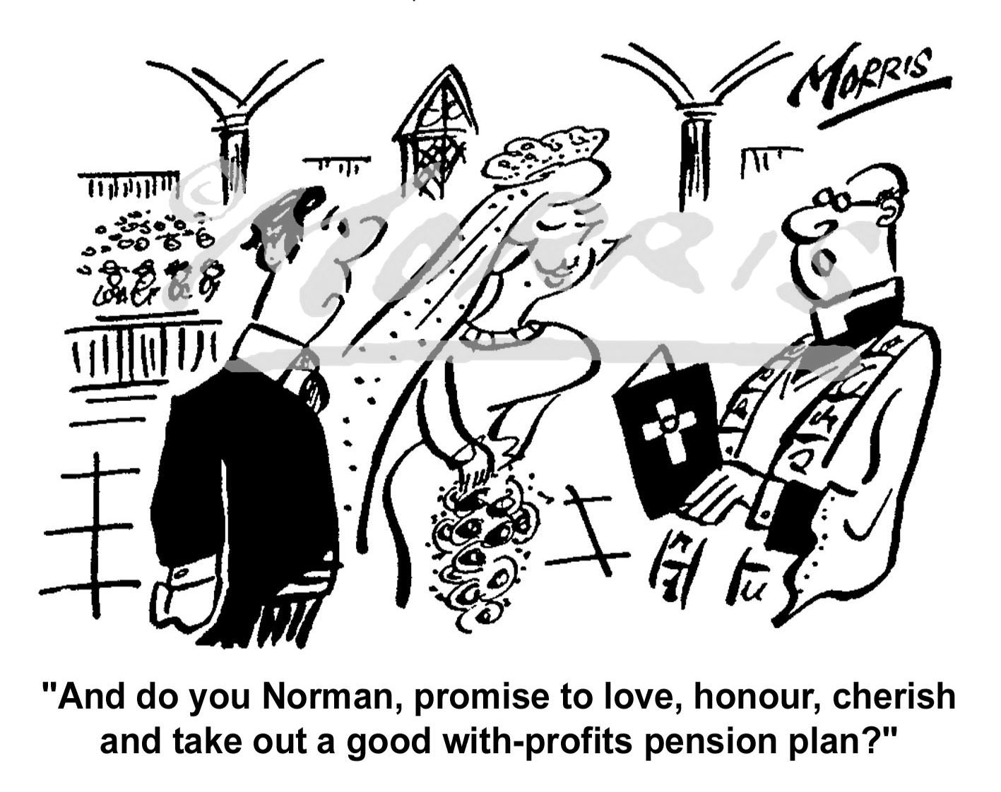With profits insurance plan cartoon Ref: 0399bw
