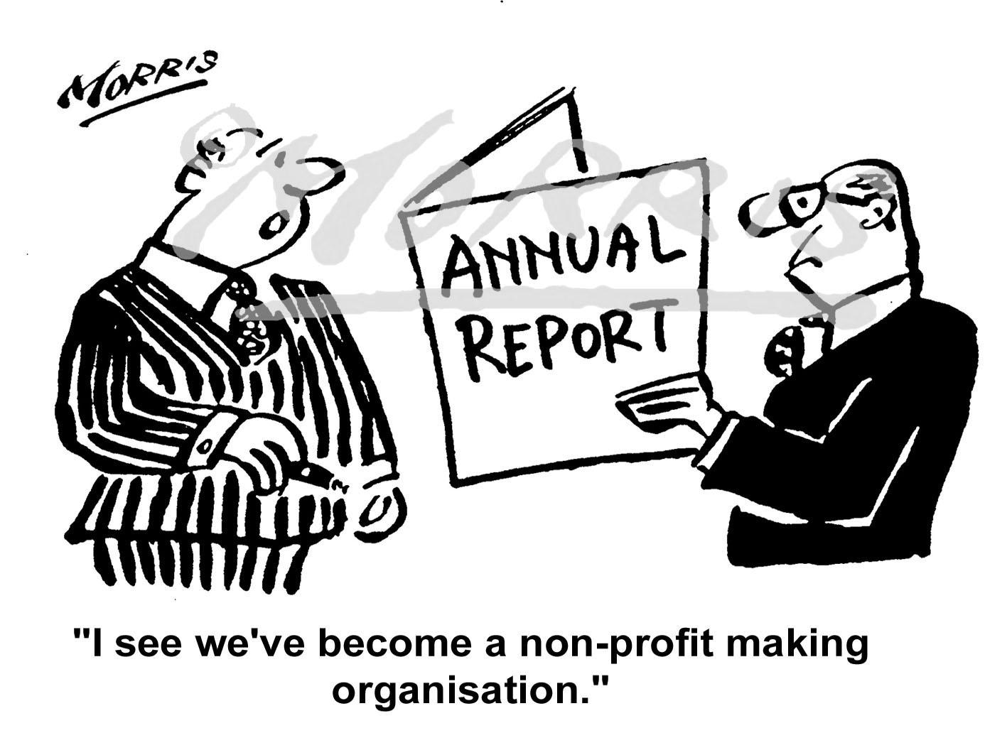 Company annual report cartoon Ref: 0416bw