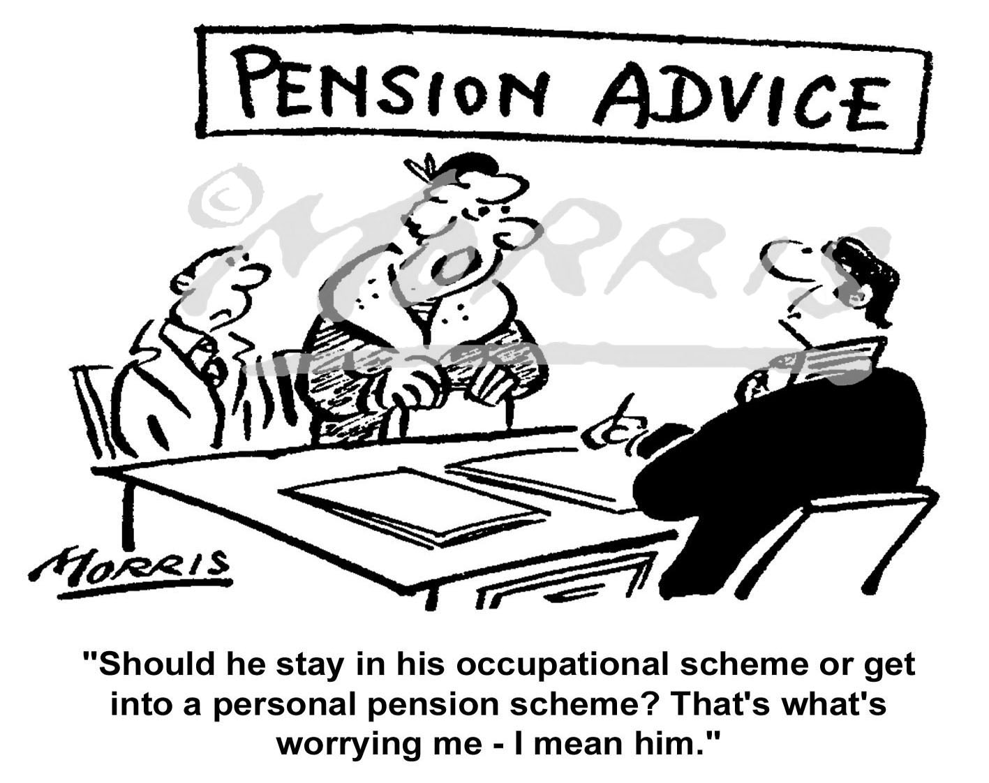 Pension advice cartoon Ref: 0454bw