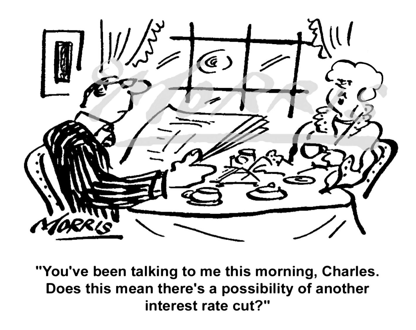 Interest rate cut cartoon Ref: 0459bw