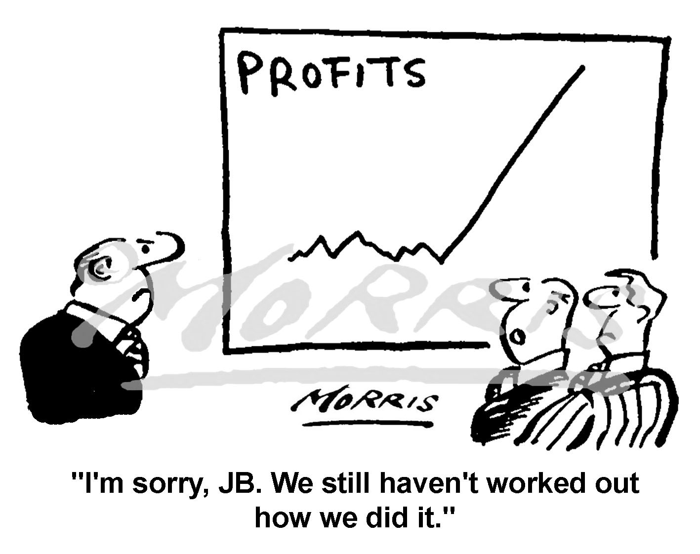 Profits graph cartoon Ref: 0475bw