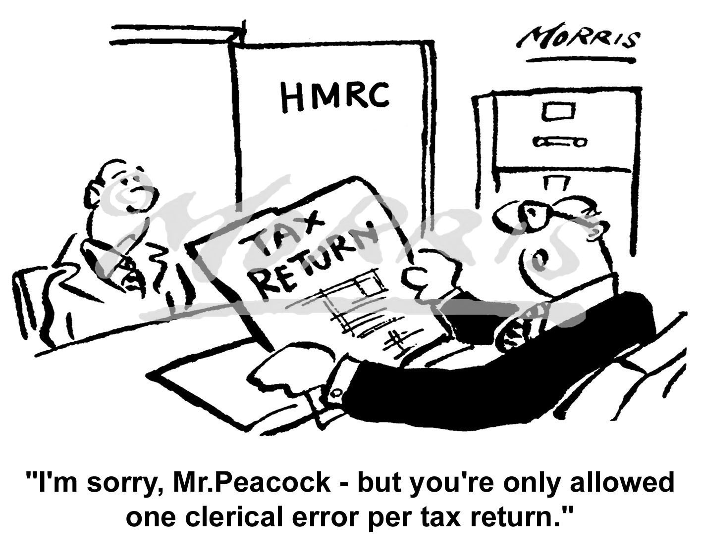 HMRC Tax return cartoon – Ref: 0478bw