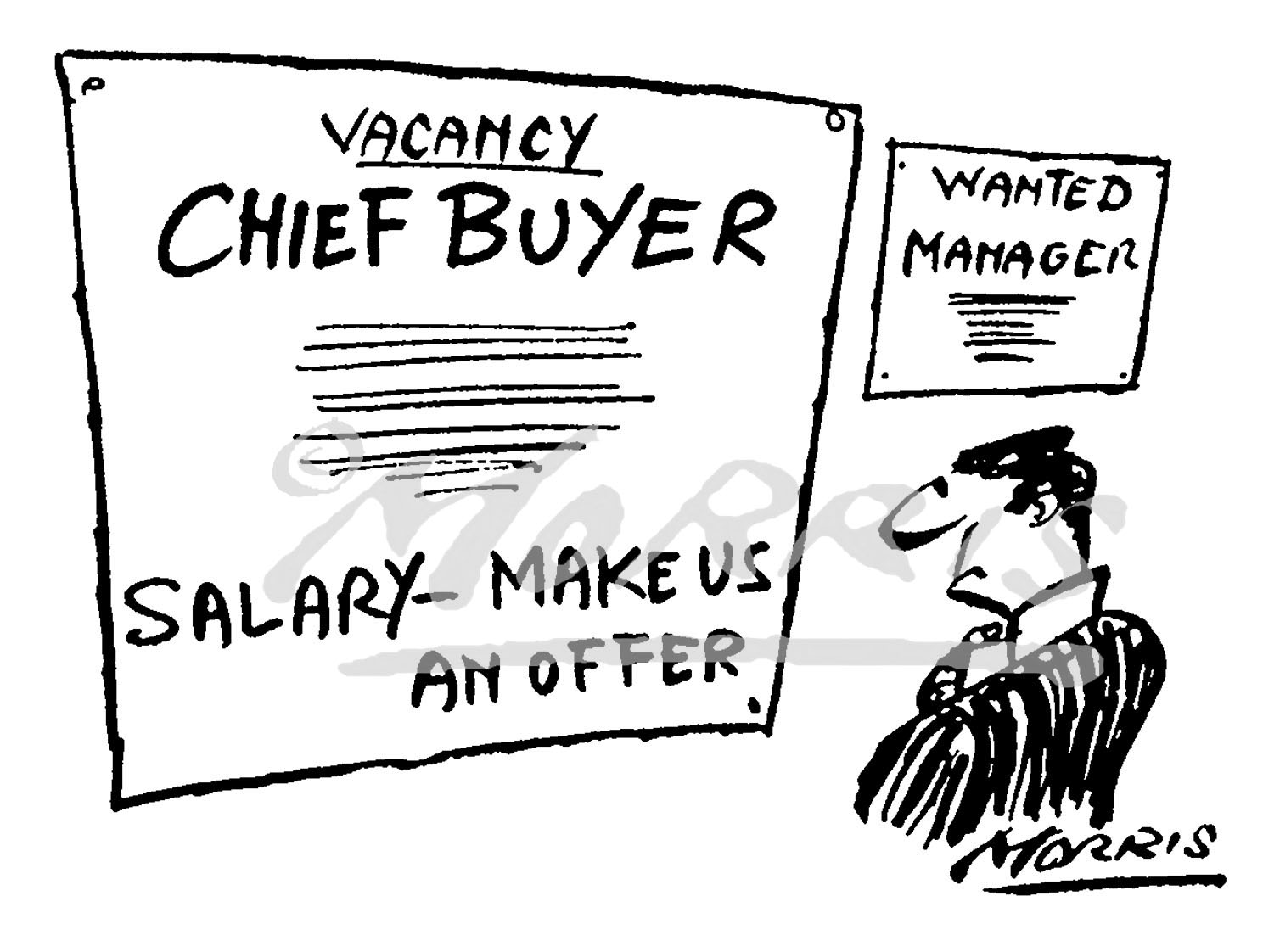 Chief Buyer vacancy business cartoon Ref: 0520bw
