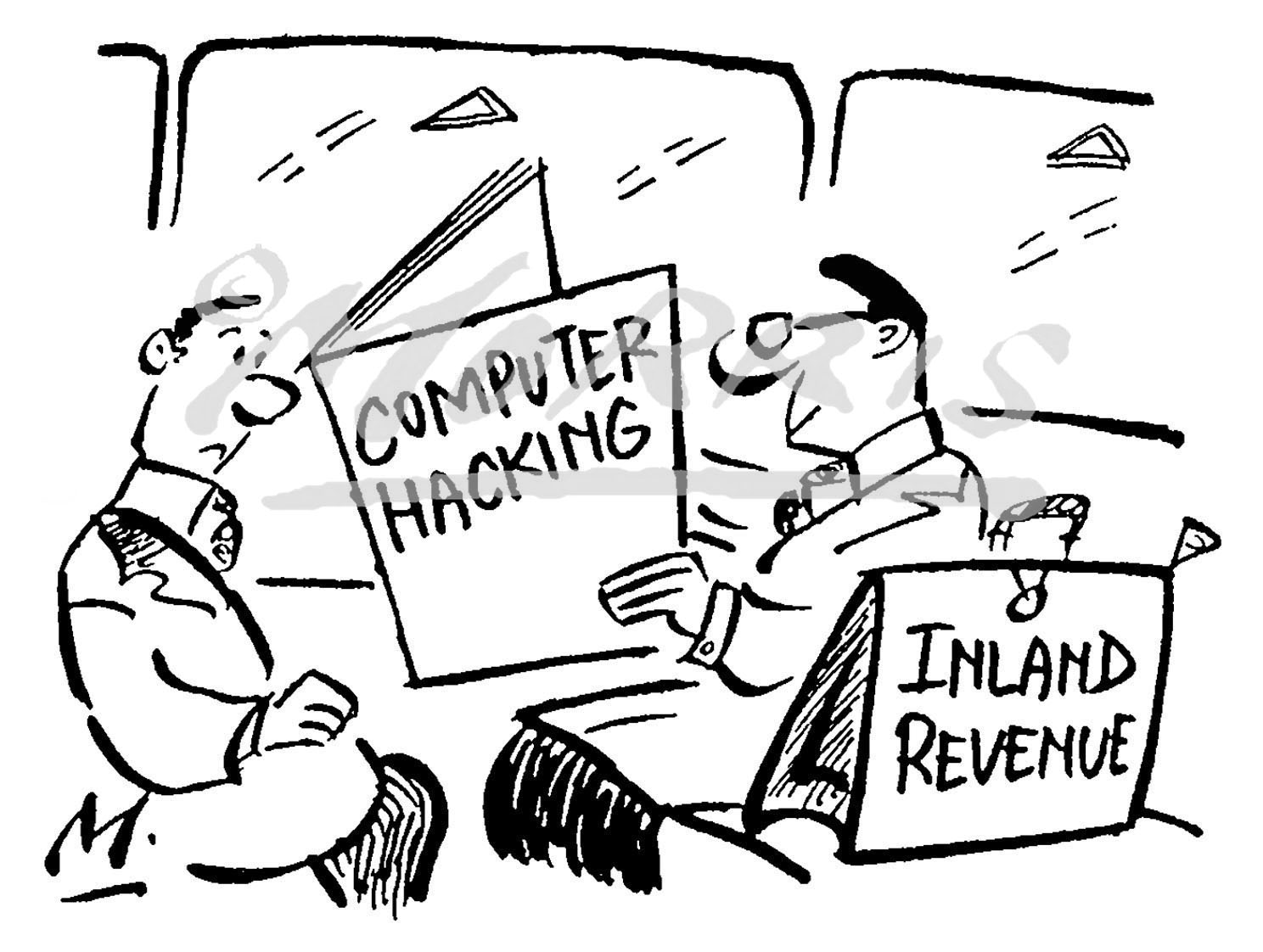 Computer hacking cartoon – Ref: 0540bw