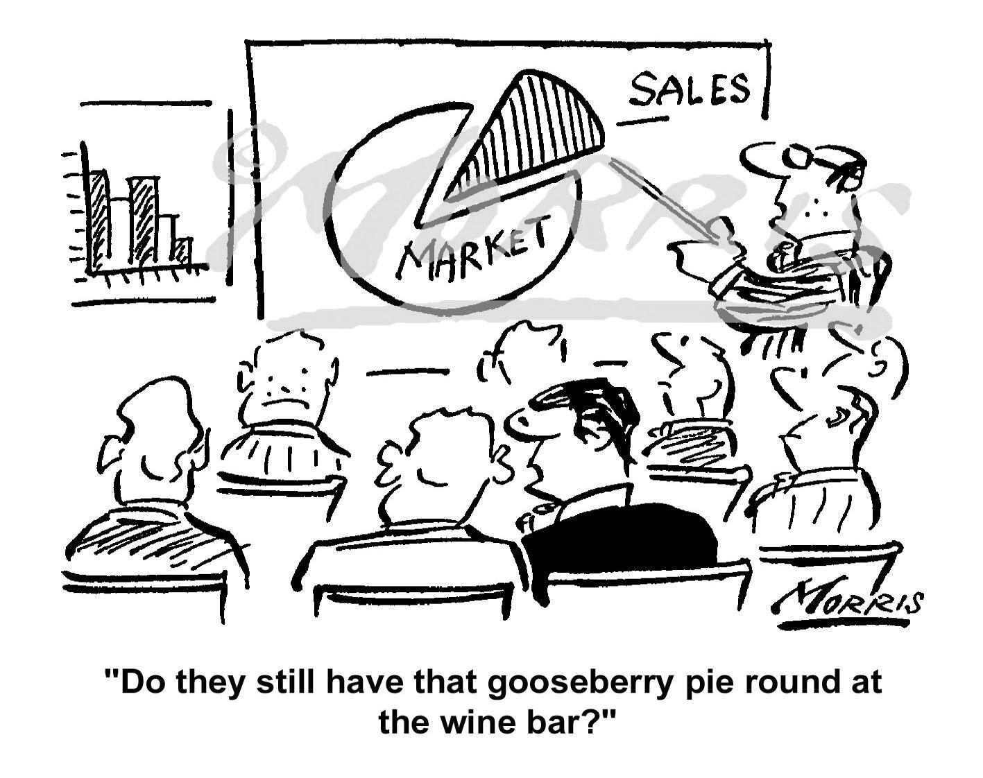 Sales pie chart comic cartoon Ref: 0569bw