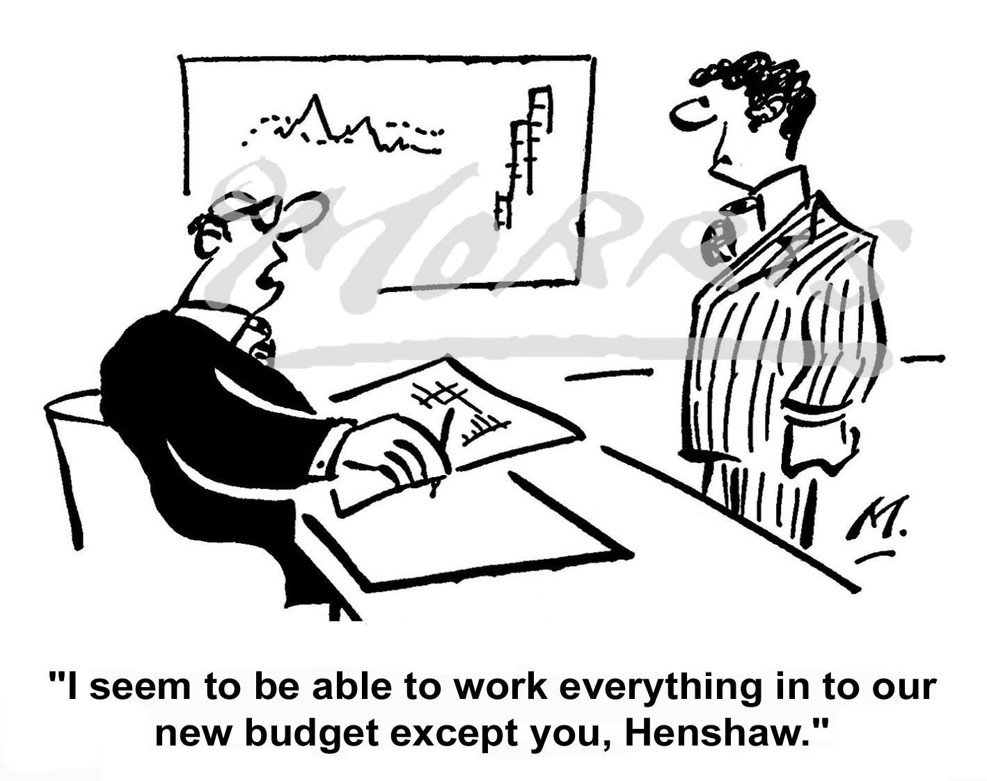 Management employee budget cartoon Ref: 0585bw