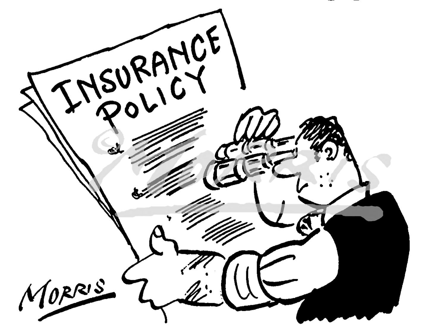 Insurance policy cartoon Ref: 0587bw