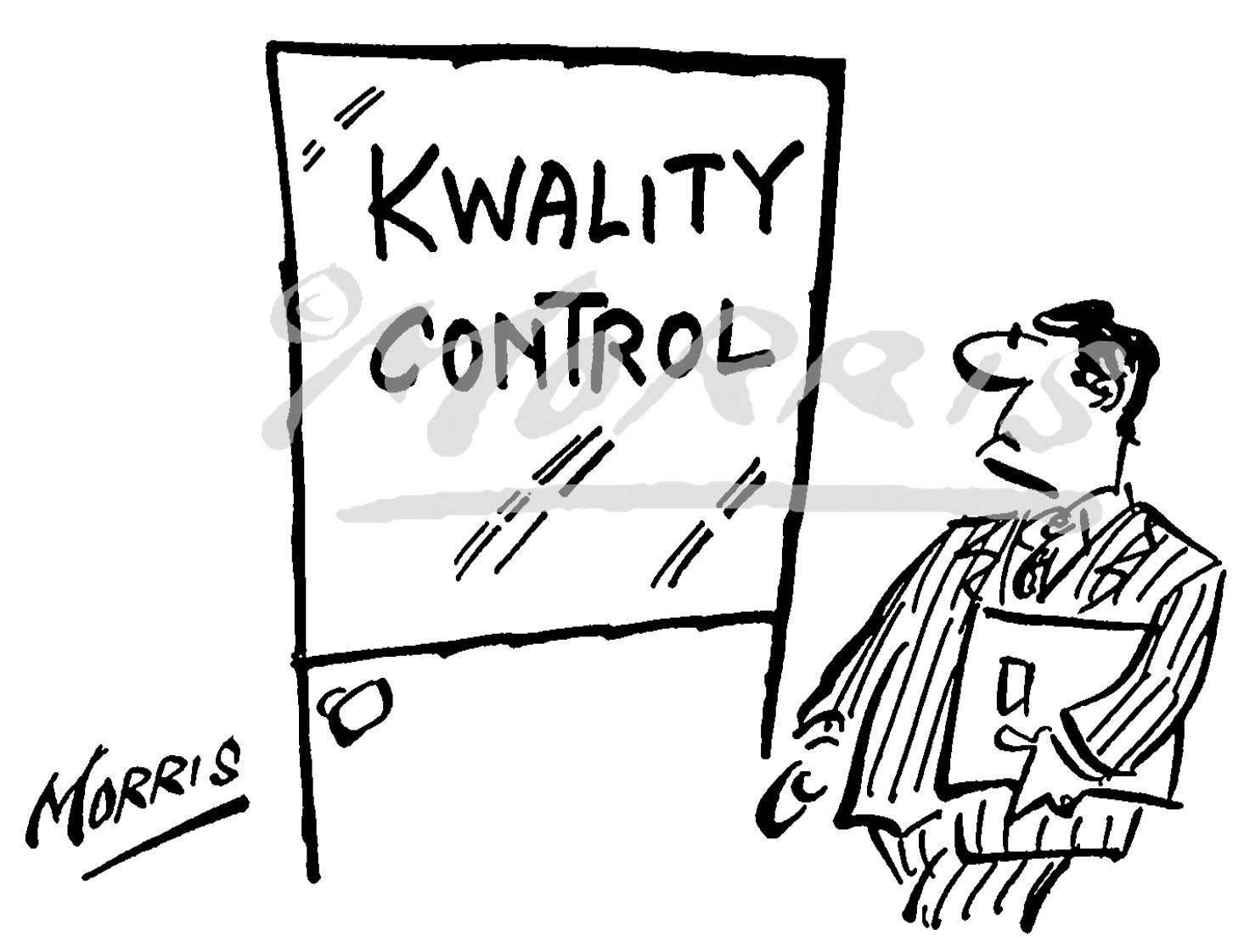 Quality Control comic cartoon Ref: 0592bw