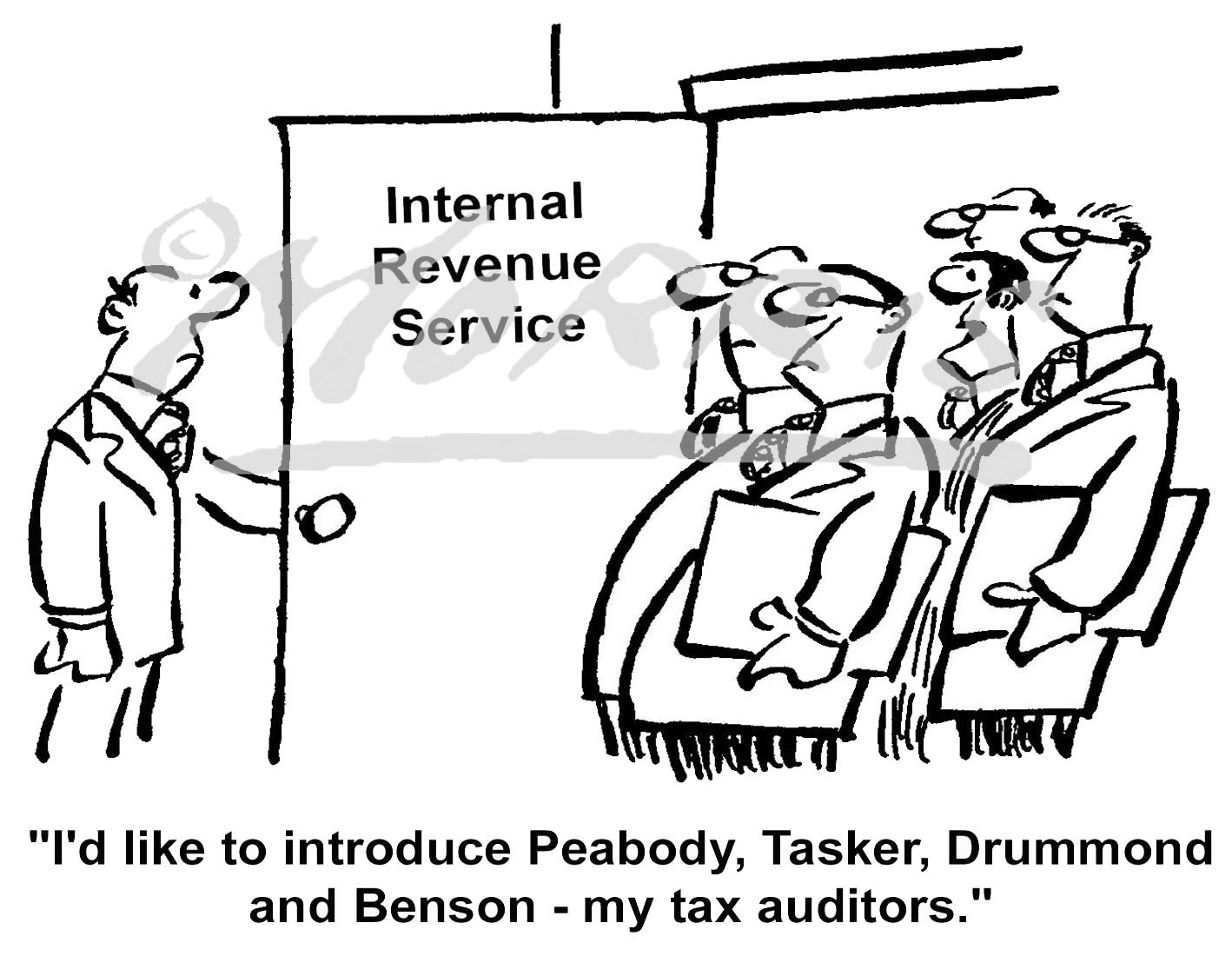 IRS accountants / auditors cartoon – Ref: 0600bwus