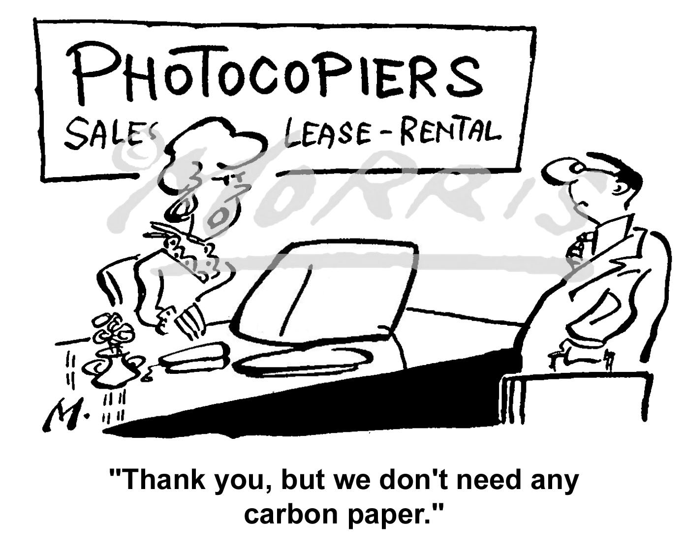 Photocopier salesperson cartoon Ref: 0601bw