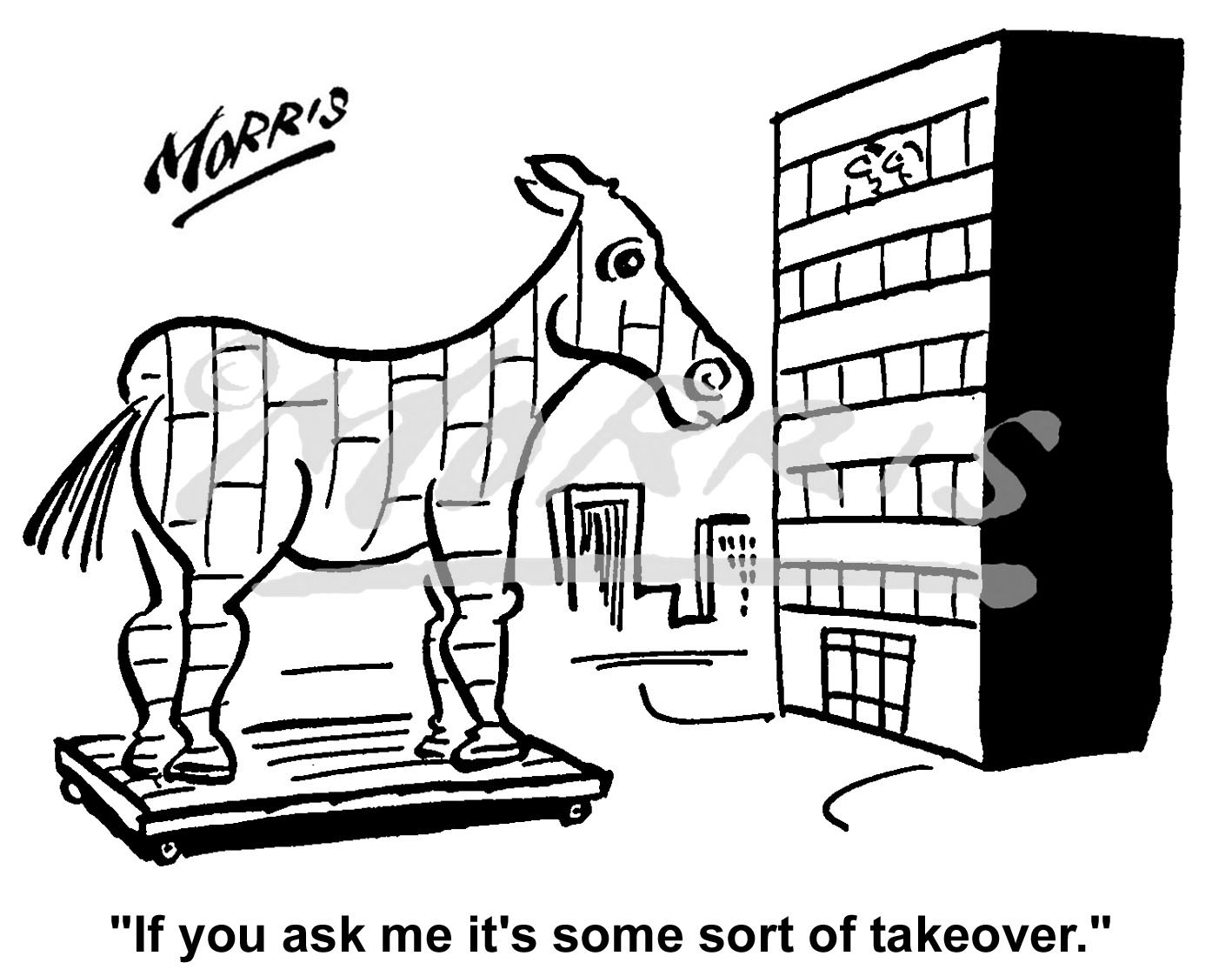 Boardroom takeover comic business cartoon Ref: 0602bw