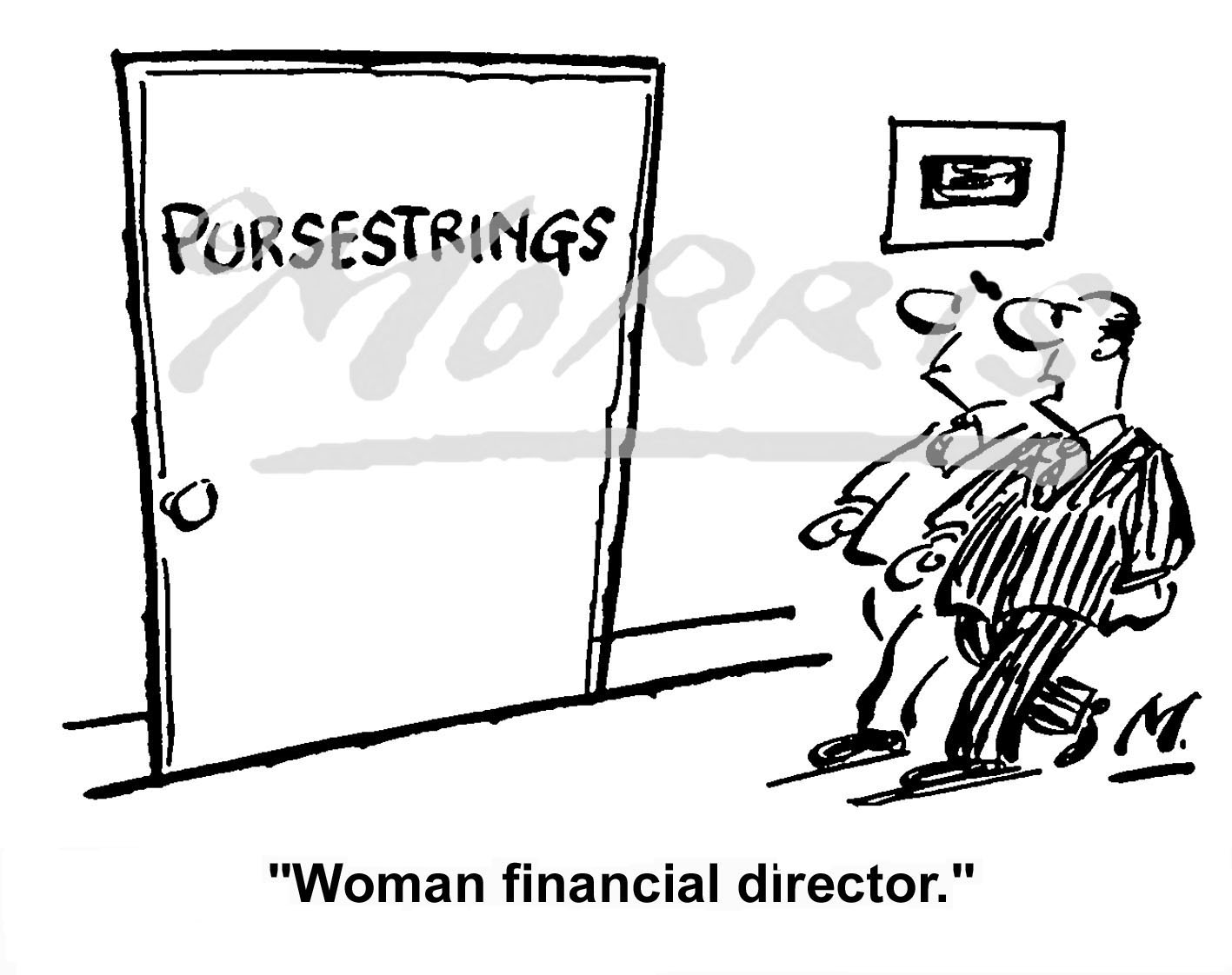 Woman financial director cartoon Ref: 0603bw
