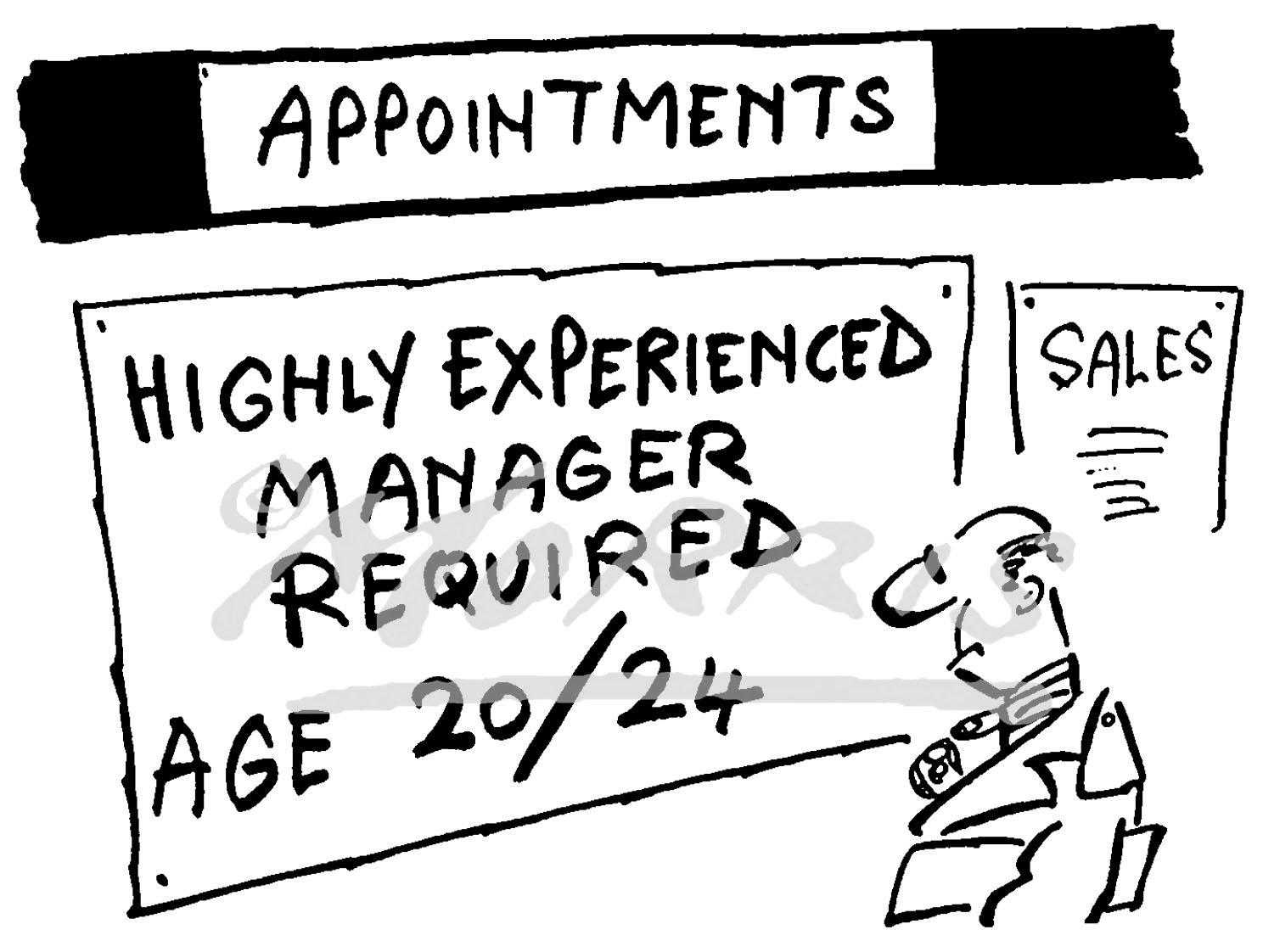 Manager cartoon, Recruitment cartoon – Ref: 0610bw