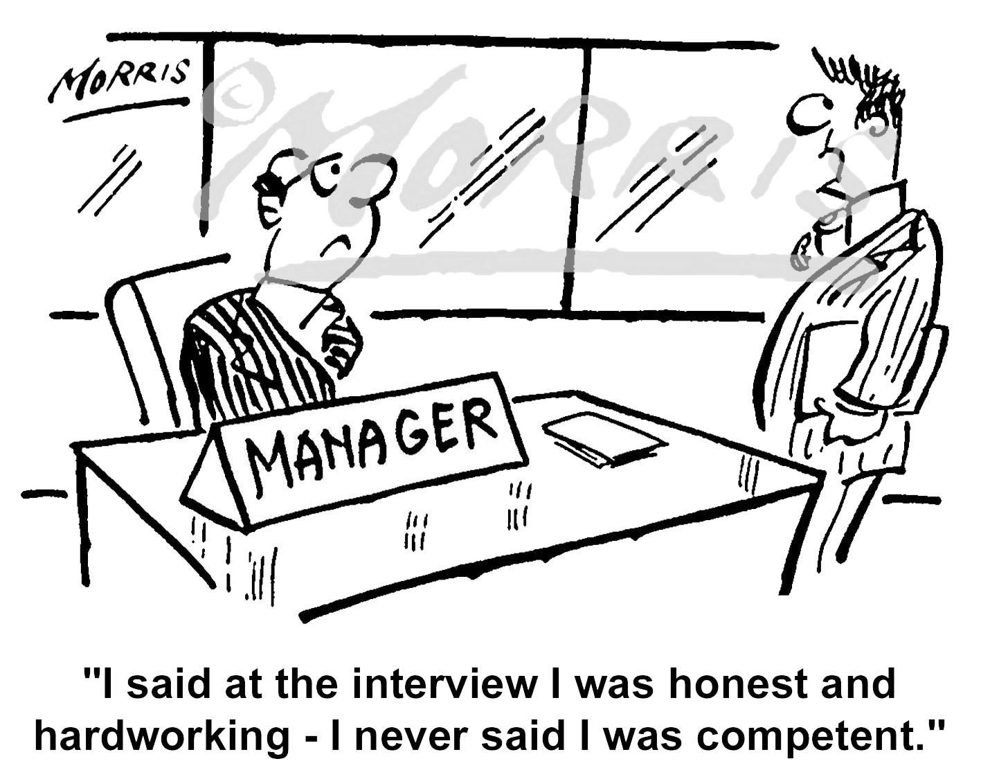 Manager employee interview cartoon Ref: 0676bw