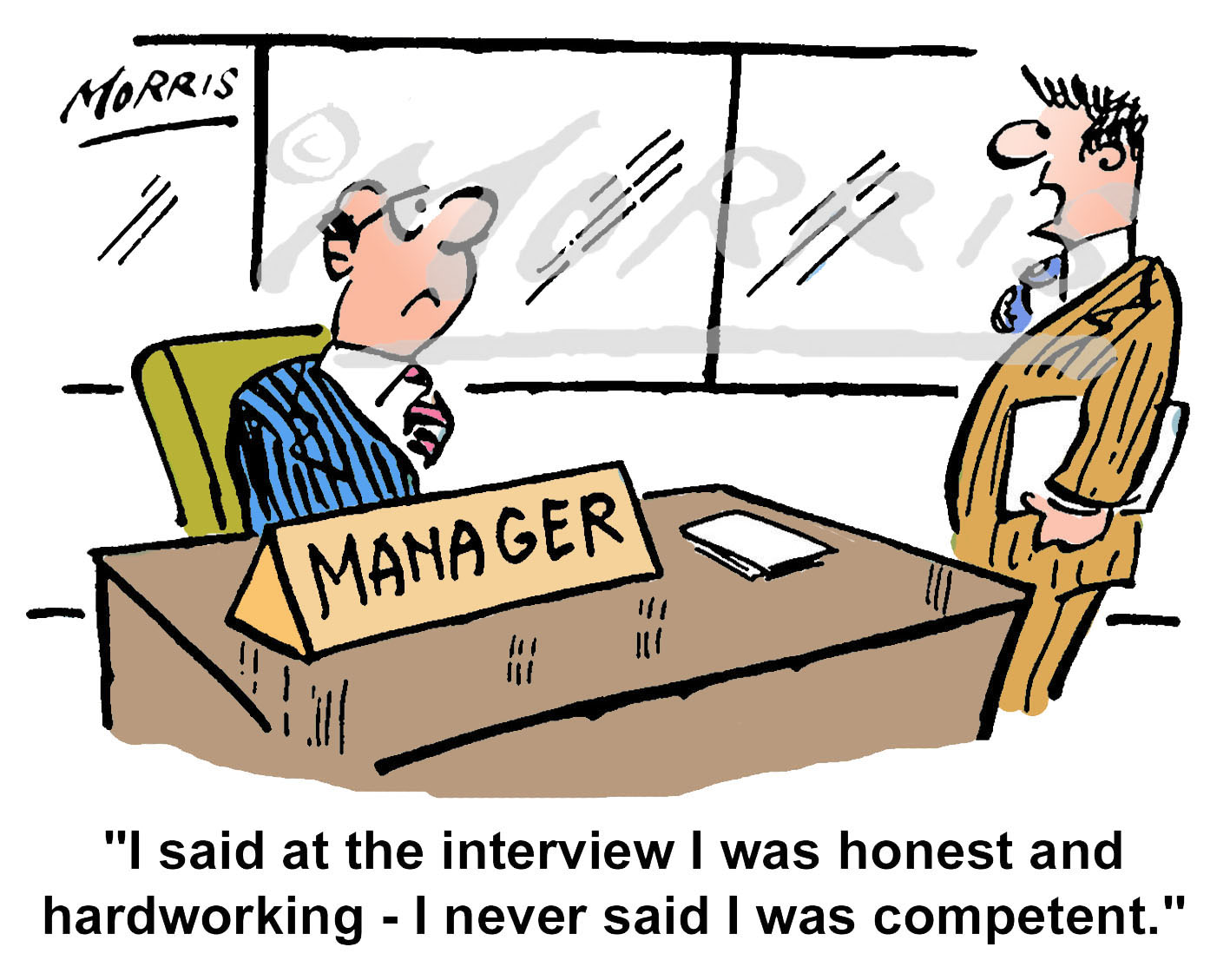 Manager employee interview cartoon – Ref: 0676col