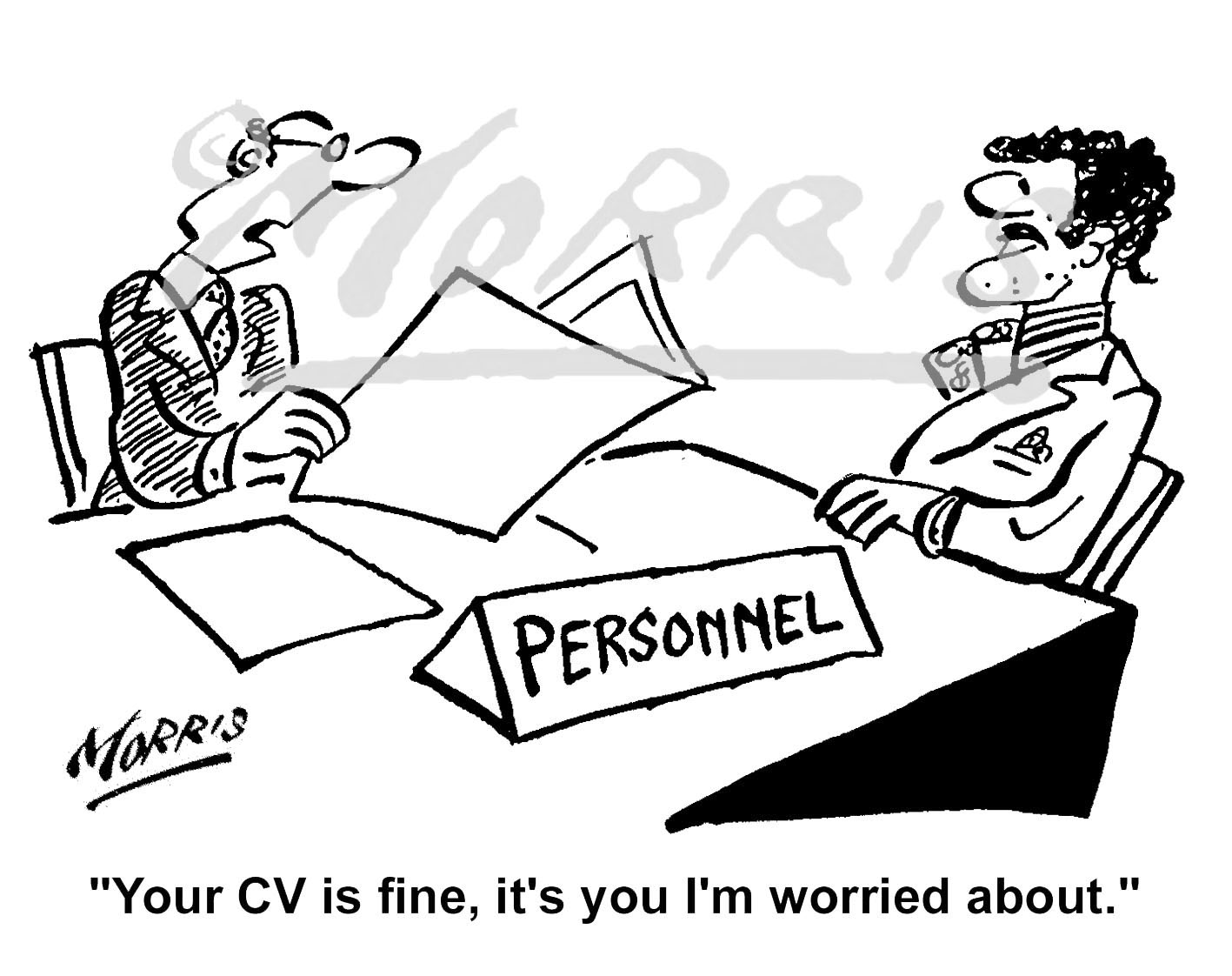 Personnel Manager job CV interview cartoon – Ref: 0719bw