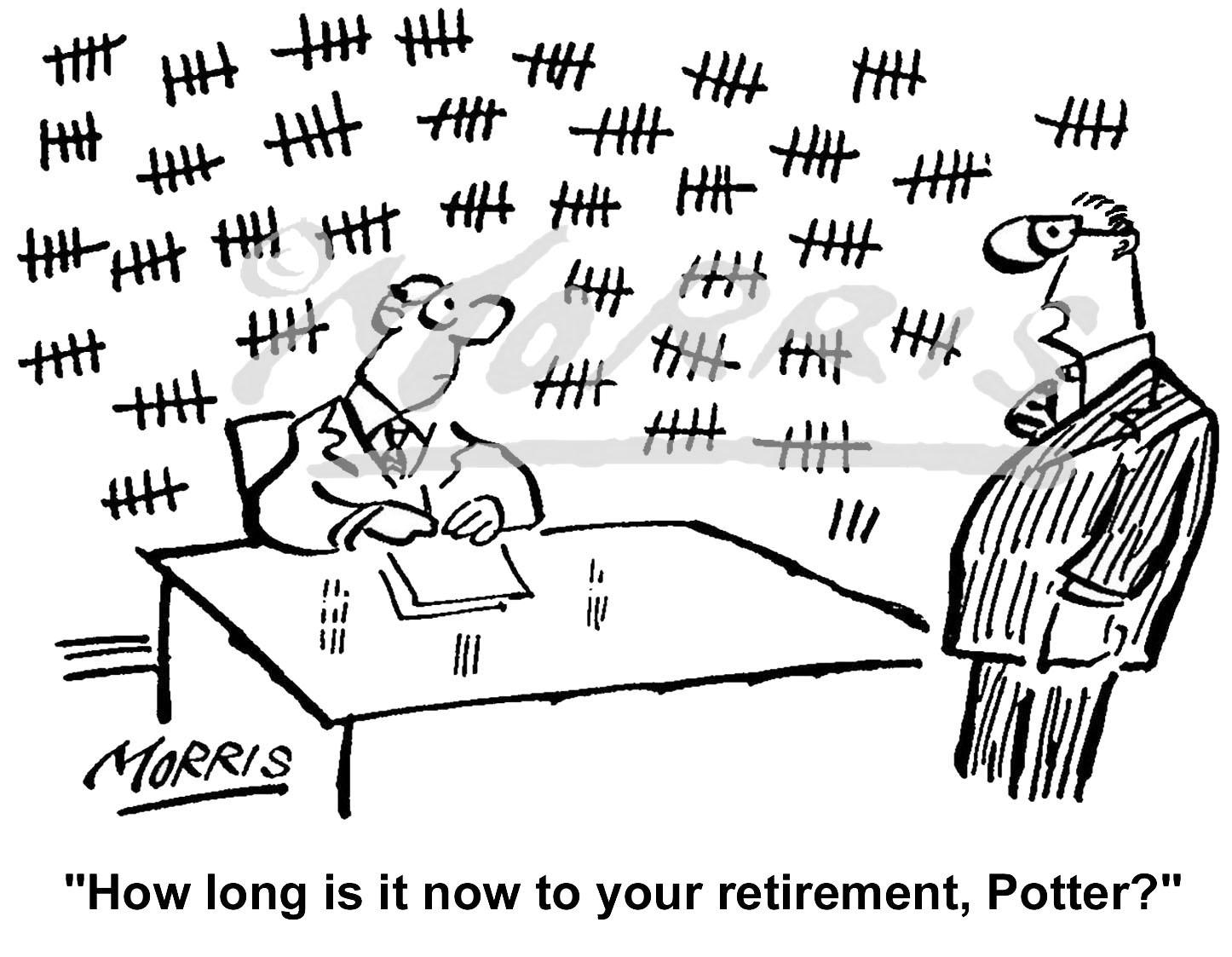 Office worker retirement cartoon Ref: 0790bw