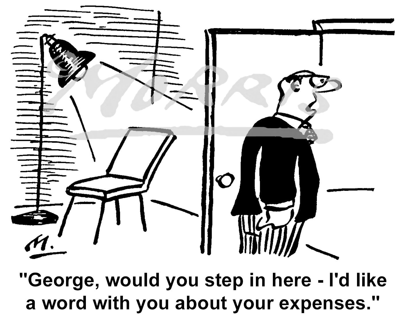 Employee expenses claim cartoon – Ref: 0816bw