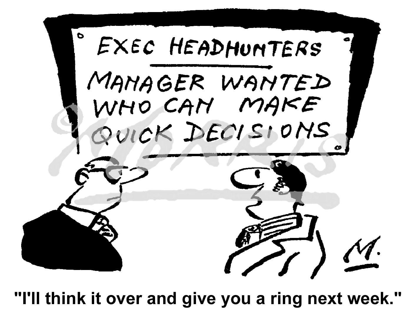 Executive manager job advertisement cartoon Ref: 0849bw