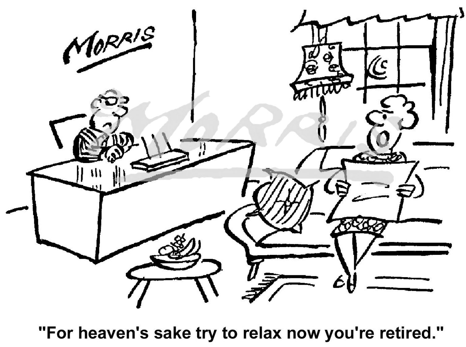 Retirement comic cartoon Ref: 0870bw