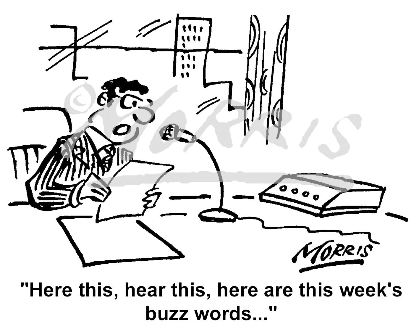 Office Manager buzz words cartoon – Ref: 0959bw