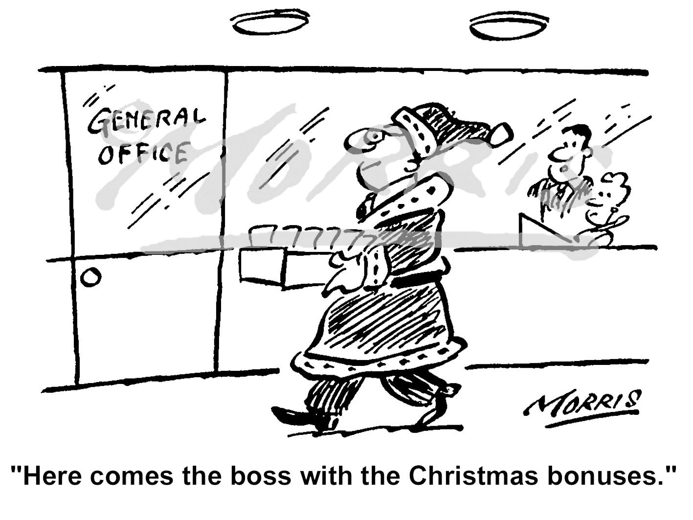 Office manager Christmas bonus cartoon – Ref: 0963bw