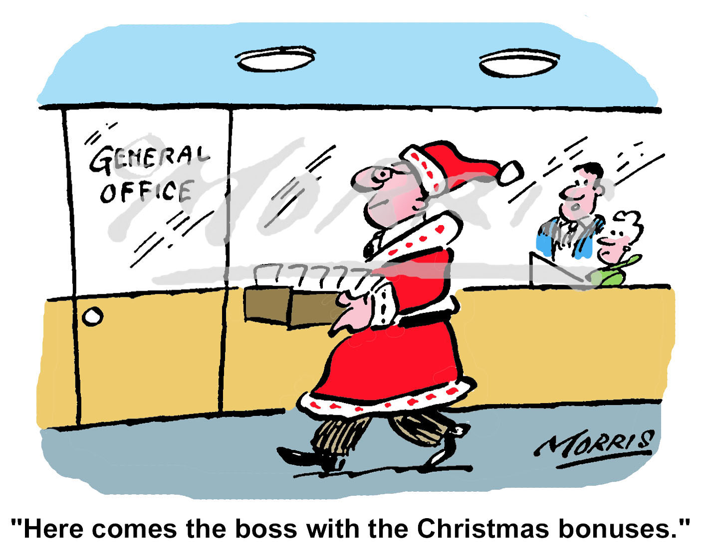 Office Manager Christmas bonus cartoon Ref: 0963col